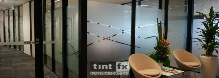 Privacy and Corporate Flair - Metamark Frosted Etch Digital Cut Graphic - Scope Project, Itochu, Grosvenor Place, Sydney, detail, TintFX