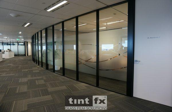 Privacy and Corporate Flair - Metamark Frosted Etch Digital Cut Graphic - Scope Project, Itochu, Grosvenor Place, Sydney, TintFX