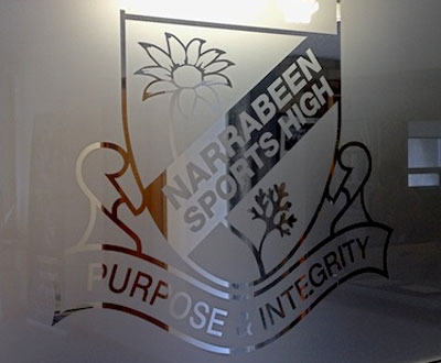 Narrabeen Sports High School Privacy Decal Graphics on Frosted Privacy Windows