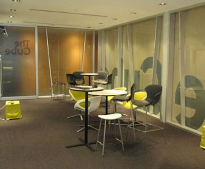 Frosting and Coloured Film - The Cube, internal shot after frosting and coloured film was applied