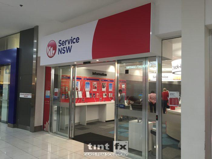 Digitally Printed Frost and Computer Cut Signage - Service NSW Marrickville