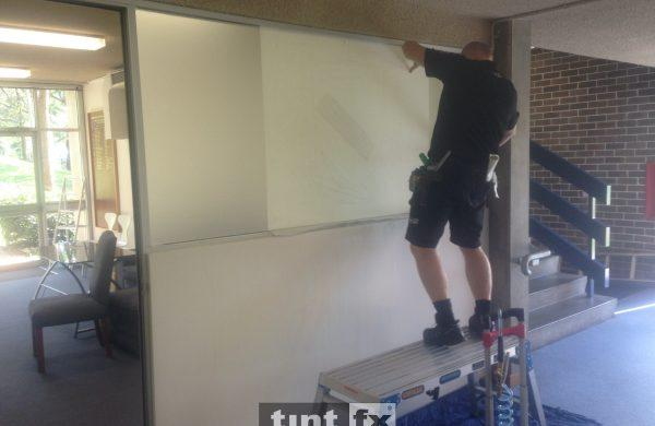 Commercial Window Tinting - Design Logo and Privacy - Metamark M7 Frosted Etch - Narrabeen Sports High School