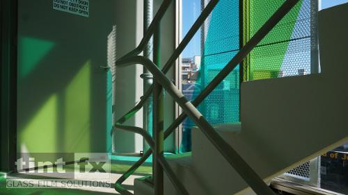 Coloured Transparent Films, Oracal 8300, Cumberland Building - Hall Street, BONDI, stairway, TintFX