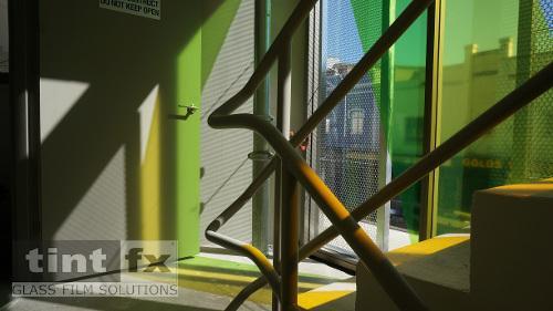 Coloured Transparent Films, Oracal 8300, Cumberland Building - Hall Street, BONDI, NSW, stairway windows, TintFX