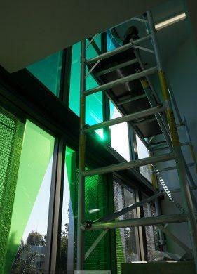 Coloured Transparent Films, Oracal 8300, Cumberland Building - Hall Street, BONDI, NSW, scaffolding, TintFX
