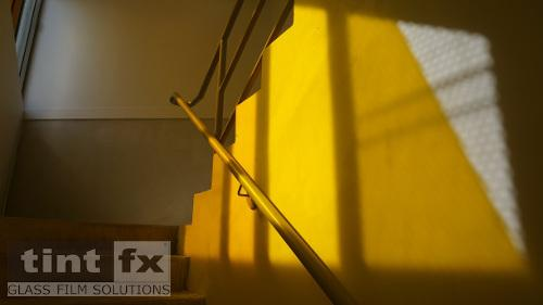 Coloured Transparent Film, Oracal 8300, Cumberland Building - Hall Street, BONDI, NSW - stairway reflection , TintFX