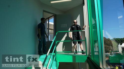 Coloured Transparent Film, Oracal 8300, Cumberland Building - Hall Street, BONDI, NSW - 15 stairway reflection, TintFX