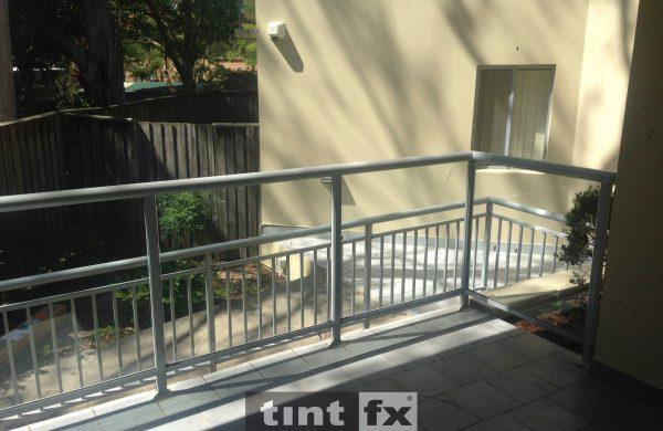 Privacy Window Film Metamark Dusted Frost - balcony balustrade - Killarney Heights - Before