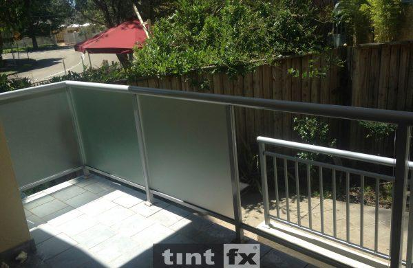 Privacy Window Film Metamark Dusted Frost - balcony balustrade - Killarney Heights - eft panels with film applied