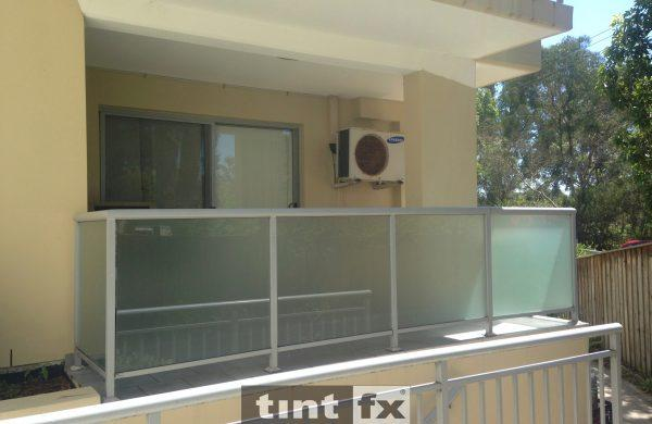 Privacy Window Film Metamark Dusted Frost - balcony balustrade - Killarney Heights - After