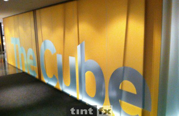 Metamark Frost and Milk Frost Printed Yellow Film with Graphic Cut - The Cube - World Square Building - TintFX